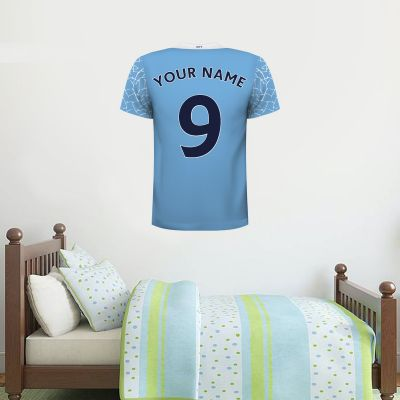 Manchester City Football Club - Personalised 20/21 Football Shirt Wall Sticker + Man City Crest Set