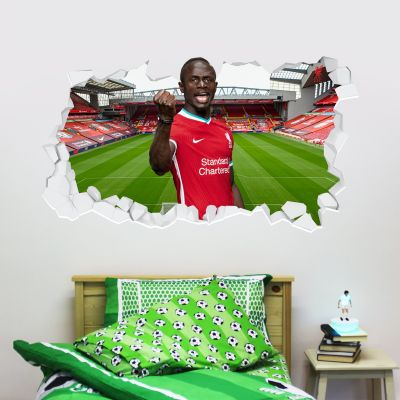 Liverpool Football Club Sadio Mane 20/21 Smashed Wall Mural + Badge Decal Set