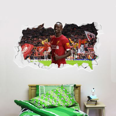 Liverpool Football Club Sadio Mane Smashed Wall Mural + Badge Decal Set