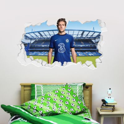 Chelsea Football Club - Marcos Alonso 20/21 Broken Wall Mural + Blues Wall Sticker Set