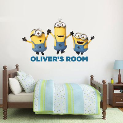 Despicable Me - 3 Minions Personalised Wall Sticker