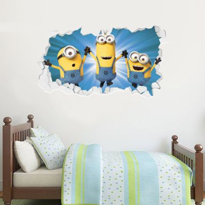 Despicable Me - 3 Minions Jumping Broken Wall Sticker