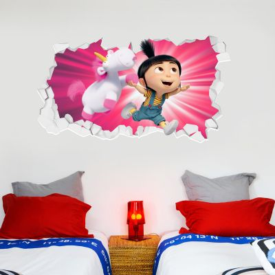 Despicable Me - Agnes and Fluffy Broken Wall Sticker