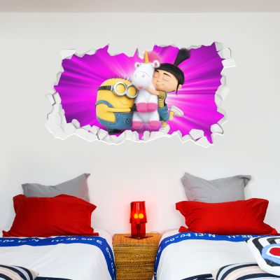 Despicable Me - Fluffy Agnes and Minion Broken Wall Sticker
