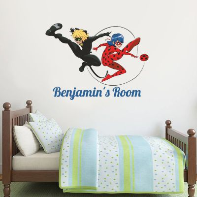 Miraculous - Ladybug and Cat Noir Personalised Name Wall Sticker MIR10