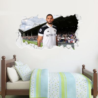 Fulham F.C. - Aleksander Mitrovic 2020 Broken Wall Sticker + Fulham Crest Decal