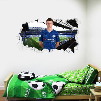 Chelsea Football Club - Mason Mount Broken Wall Mural + Blues Wall Sticker Set