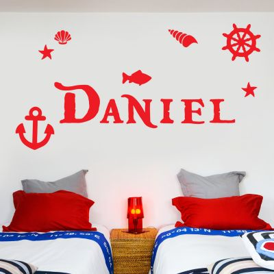 Pirate Wall Sticker Nautical Personalised Name