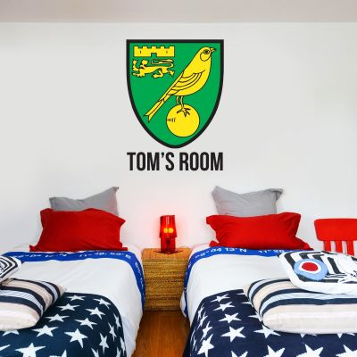 Norwich City FC - Personalised Name & Crest Wall Sticker