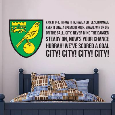 Norwich City FC - Crest & 'On The Ball' Song Wall Sticker