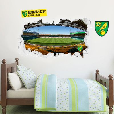 Norwich City FC - Smashed Carrow Road Stadium Wall Sticker