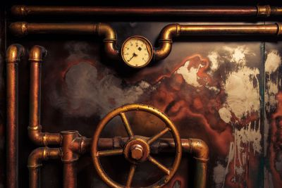 Old Steam Pipes & Pressure Gauge Wall Mural