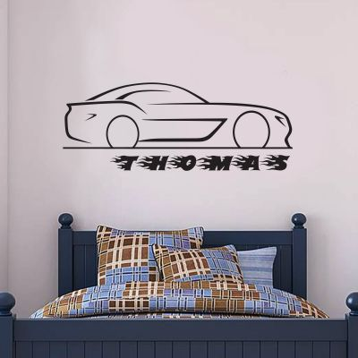 Car and Personalised Name Wall Sticker