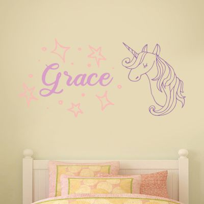 Unicorn and Personalised Name Wall Sticker