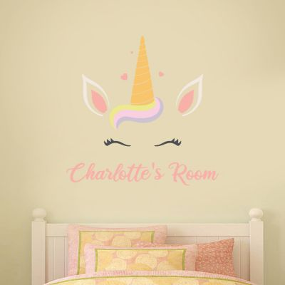 Unicorn Head and Personalised Name Wall Sticker
