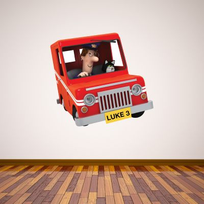 Postman Pat - Personalised Number Plate Van Wall Sticker