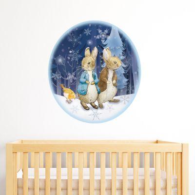 Peter Rabbit and Benjamin Bunny Winter Themed Wall Sticker Mural