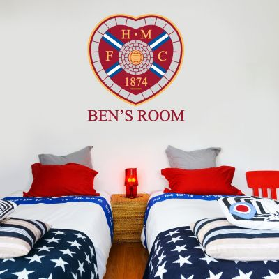 Hearts Football Club - Personalised Crest & Name + Wall Sticker Set
