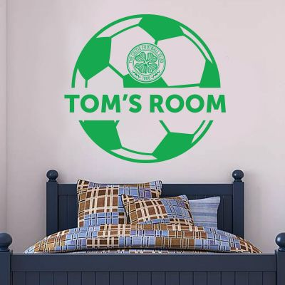 Celtic Football Club - Personalised Ball & Crest + Celts Wall Sticker Set
