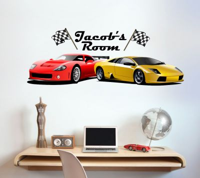Sports Cars Personalised Name Wall Sticker