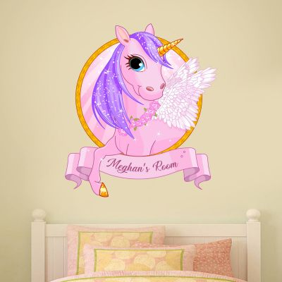 Unicorn Wall Sticker Personalised Name Circle