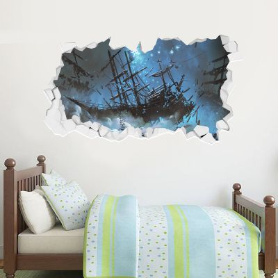 Pirate Wall Sticker Pirate Ship Crash Broken Wall