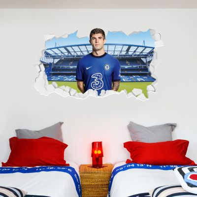 Chelsea Football Club - Pulisic 20/21 Broken Wall Mural + Blues Wall Sticker Set