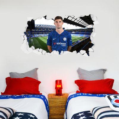 Chelsea Football Club - Pulisic Broken Wall Mural + Blues Wall Sticker Set