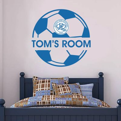 Queens Park Rangers F.C. - Ball Design & Personalised Name + Hoops Wall Sticker Set