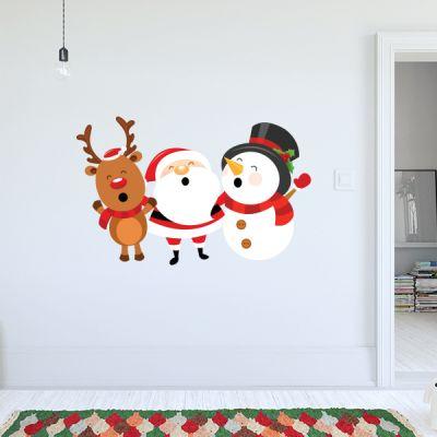 Reindeer Santa Snowman Group Wall Sticker
