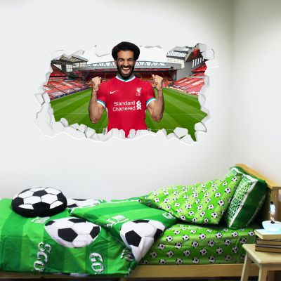 Liverpool Football Club Mo Salah 20/21 Smashed Wall Mural + Badge Decal Set