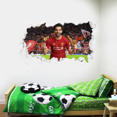 Liverpool Football Club Mo Salah Smashed Wall Mural + Badge Decal Set