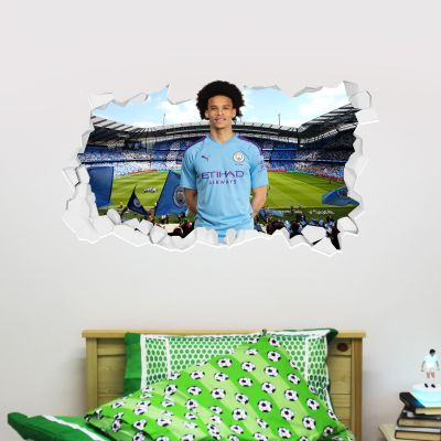 Manchester City Football Club - Leroy Sane Smashed Wall Mural + Bonus Wall Sticker Set