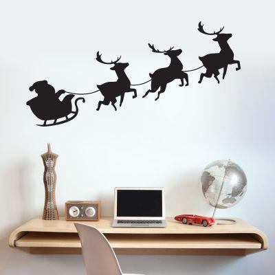 Santas Sleigh Reindeer Silhouette Wall Sticker