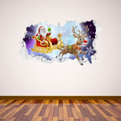Santas Sleigh Rudolph Broken Wall Sticker