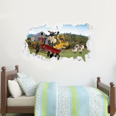 Shaun The Sheep - Run Away Cart Smashed Wall Sticker