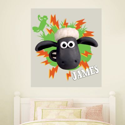 Shaun The Sheep - Personalised Lightning Wall Sticker