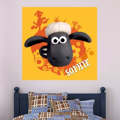 Shaun The Sheep - Personalised Flowerbed Wall Sticker