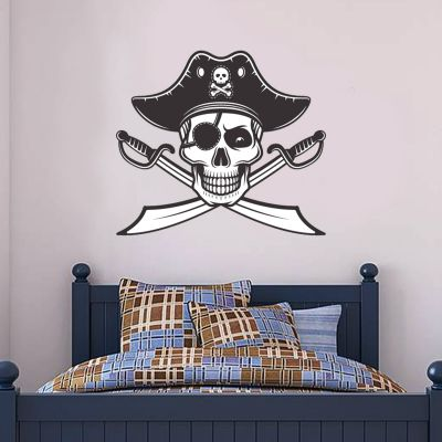 Pirate Wall Sticker Skull and Swords