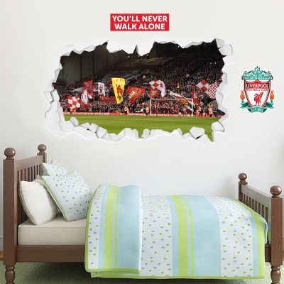 Liverpool Football Club - Smashed Anfield Stadium (View Of The Kop) Wall Mural + LFC Wall Sticker Set