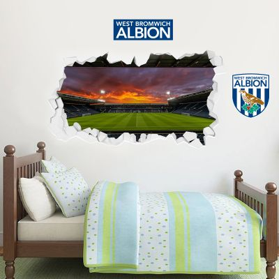 West Bromwich Albion Football Club - Smashed Hawthorns Stadium (Night) + Baggies Wall Sticker Set