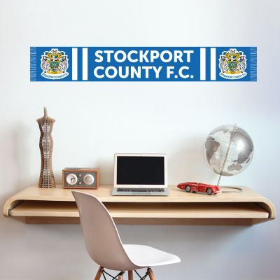 Stockport County F.C. - Bar Scarf + Hatters Wall Sticker Set