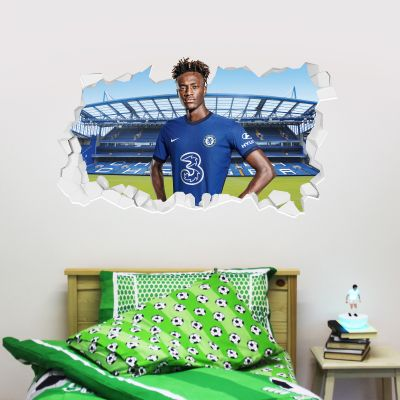 Chelsea Football Club - Tammy Abraham 20/21 Broken Wall Mural + Blues Wall Sticker Set