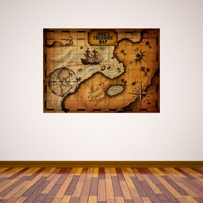 Pirate Wall Sticker Personalised Name Treasure Map
