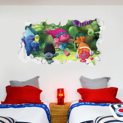 Trolls - Poppy & Group Troll Village Broken Wall Sticker