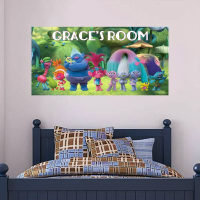 Trolls - Poppy & Group Troll Village Wall Sticker