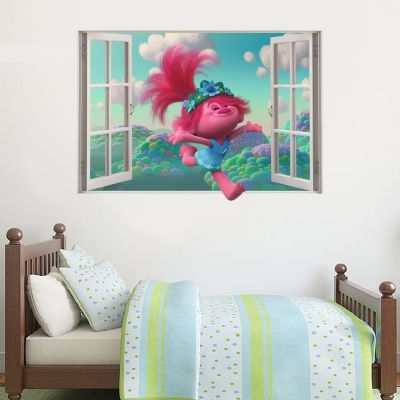 Trolls World Tour - Poppy Jumping Through Window Wall Sticker