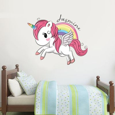Unicorn Wall Sticker Unicorn Rainbow and Personalised Name