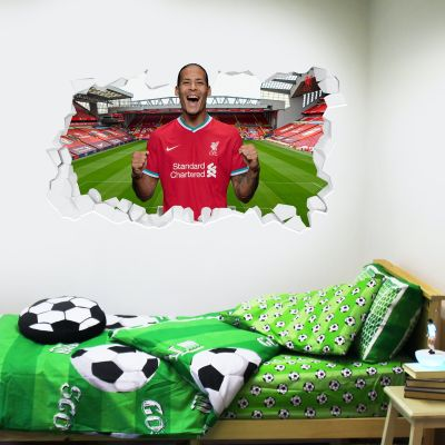 Liverpool Football Club Virgil Van Dijk 20/21 Smashed Wall Mural + Badge Decal Set