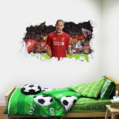 Liverpool Football Club Virgil Van Dijk Smashed Wall Mural + Badge Decal Set